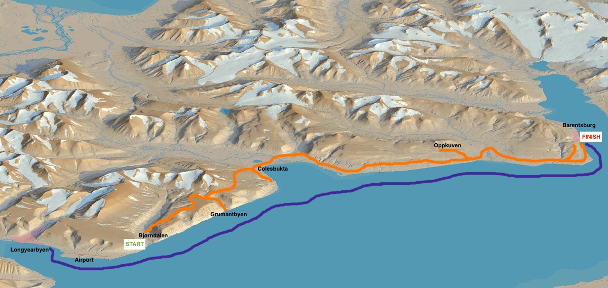 Our route on Spitsbergen. We averaged 15-20 km per day.