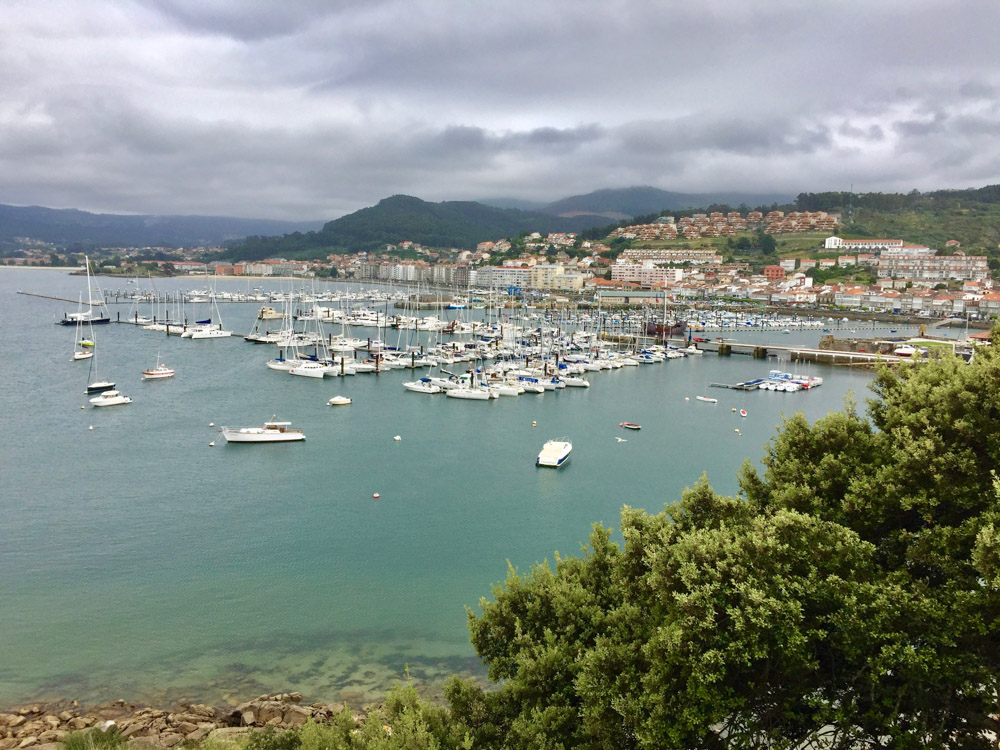 A nice view of the Baiona Marina from the old castle.