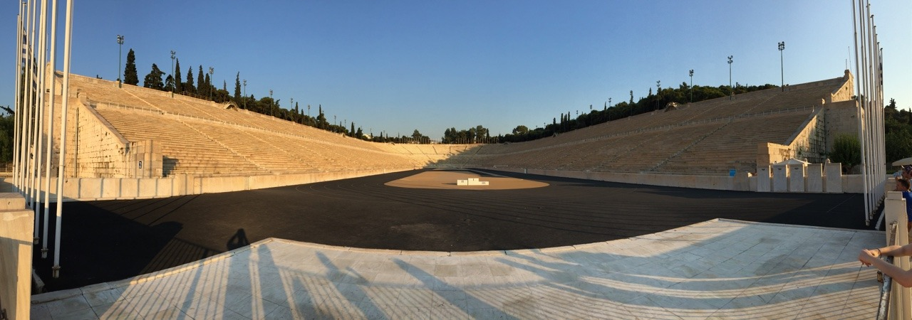 The Panathenaic Stadium (hosted the first modern Olympic Games in 1896, before they were all tarnished by sponsorship.)