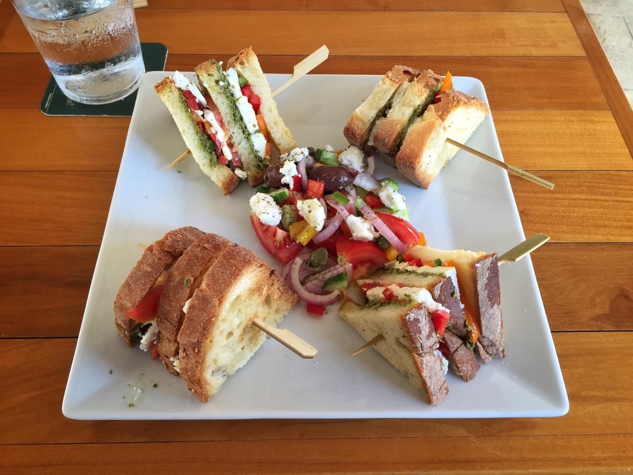 Pesto Feta Pepper Club Sandwich with Greek Salad. Yum!