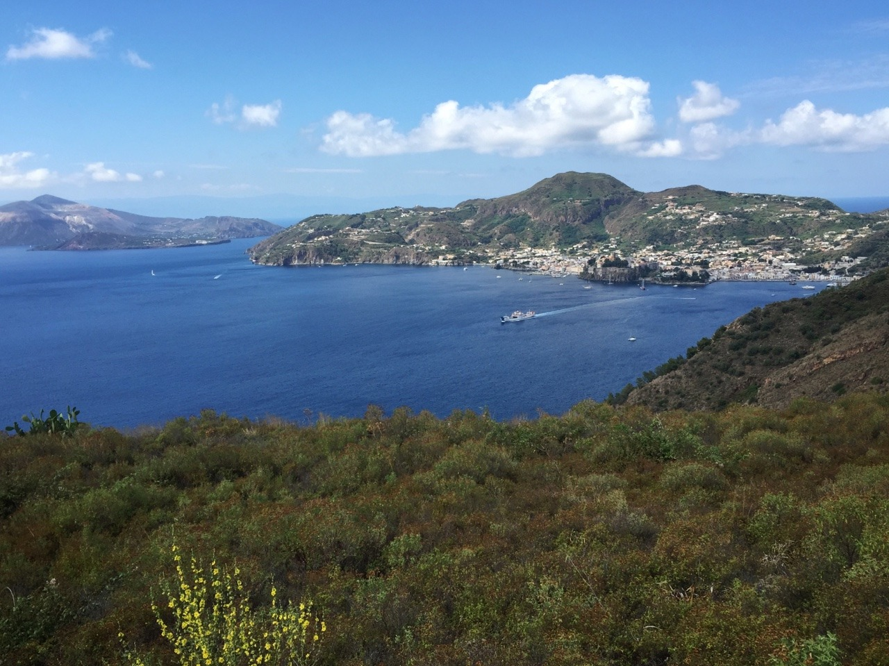 The view of Lipari town from Monterosa.