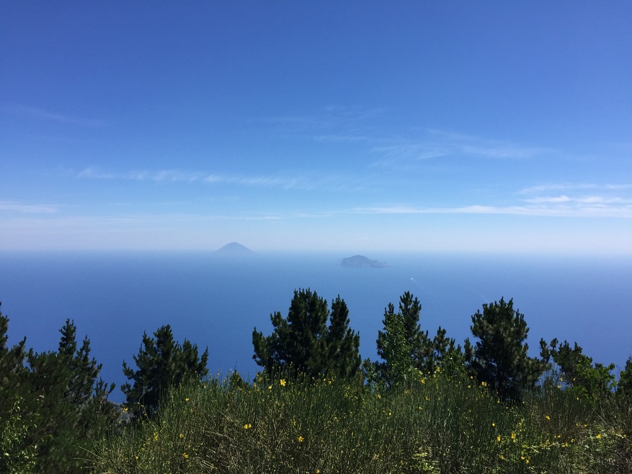 The view from the top of Fossa delle Felci, 962m. The island on the left is Stromboli, an active volcano.
