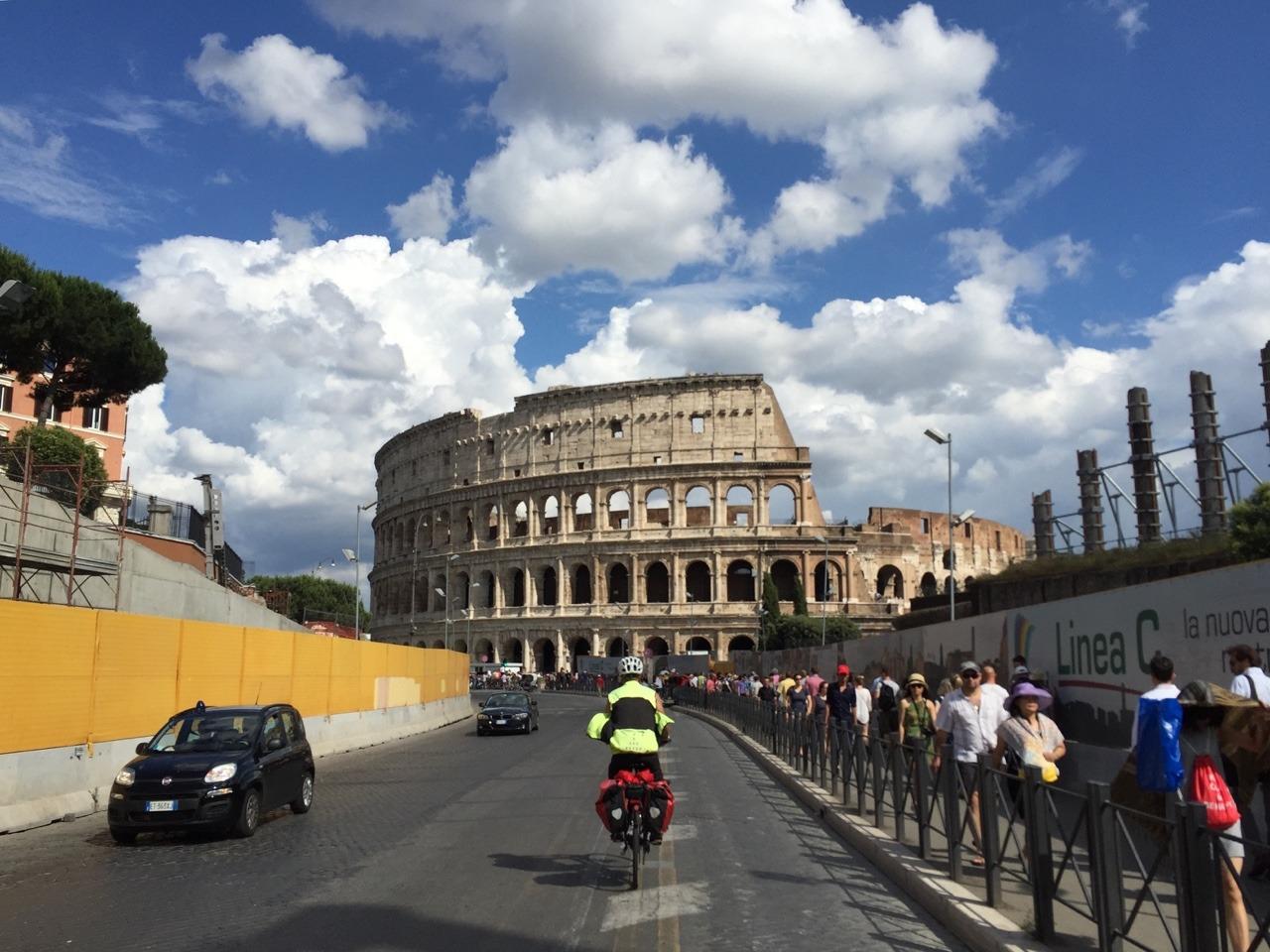 Riding towards the Colosseum!