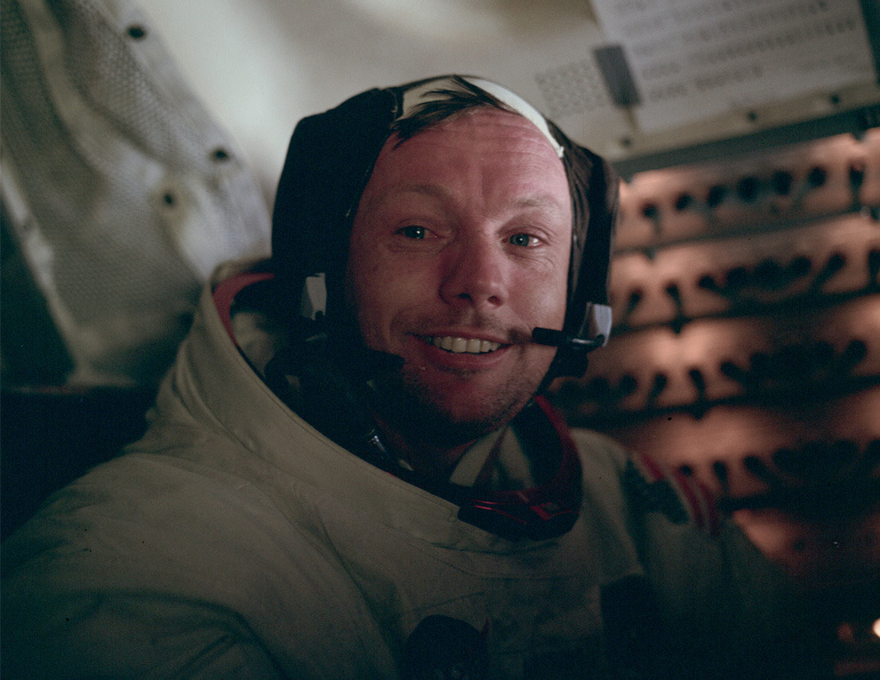 """Remembering  Neil Armstrong & Apollo 11     crookedindifference :       Rest in Peace, Neil Armstrong        Buzz Aldrin took this picture of Neil Armstrong in the cabin after the completion of the first EVA. This is the face of the first man to set foot on the Moon, just hours earlier, on July 20th, 1969.      Neil Armstrong was a quiet self-described nerdy engineer who became a global hero when as a steely-nerved pilot he made """"one giant leap for mankind"""" with a small step on to the moon. The modest man who had people on Earth entranced and awed from almost a quarter million miles away has died. He was 82."""