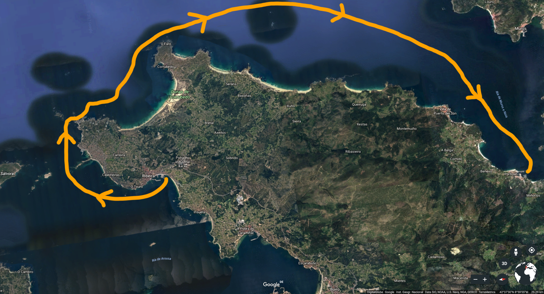 Our route from Ribeira to Portosín.