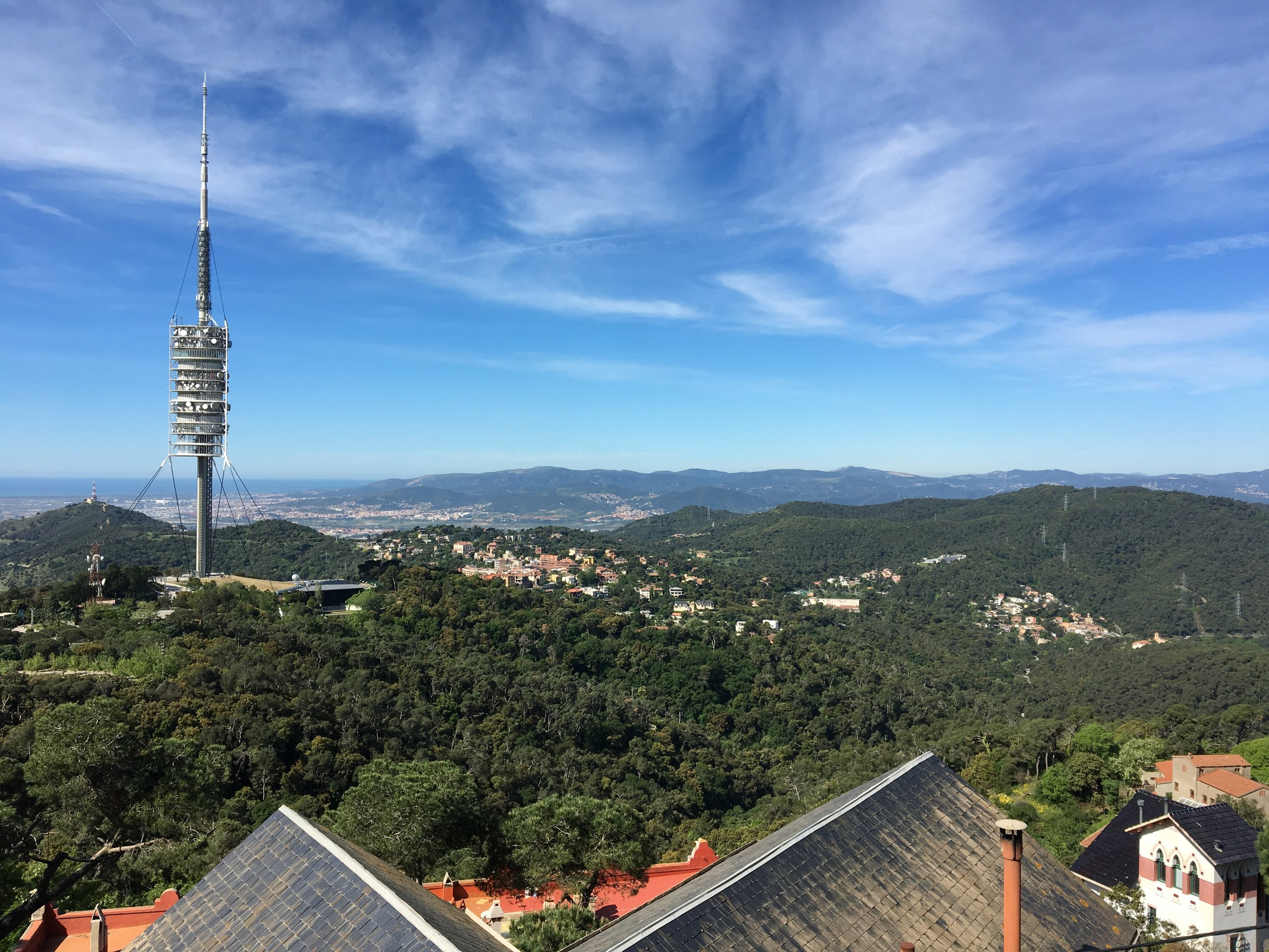 Looking to the west; the Torre de Collserola, a radio tower constructed specially for the 1992 Summer Olympics.