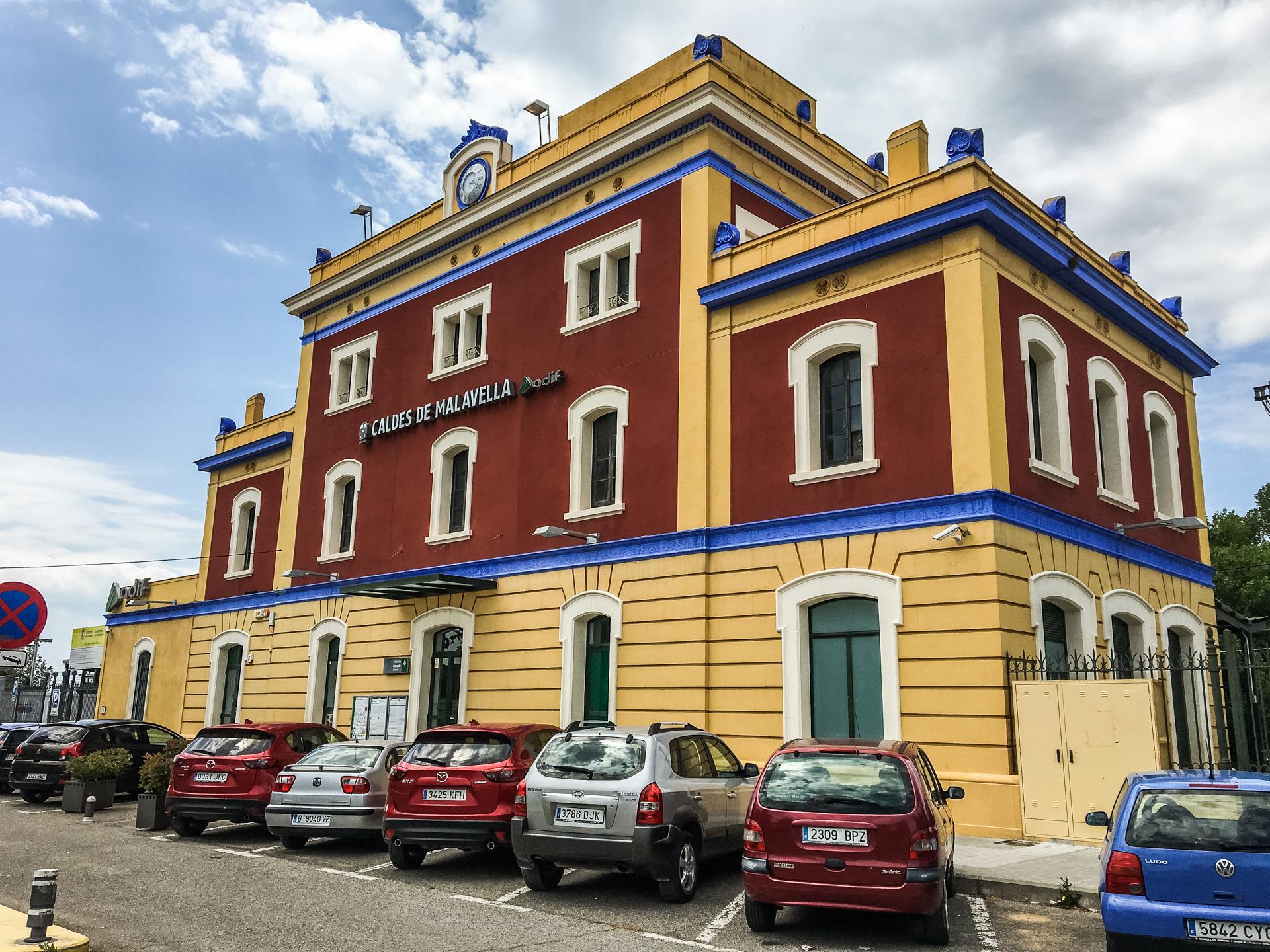 The colourful train station at Caldes de Malavella