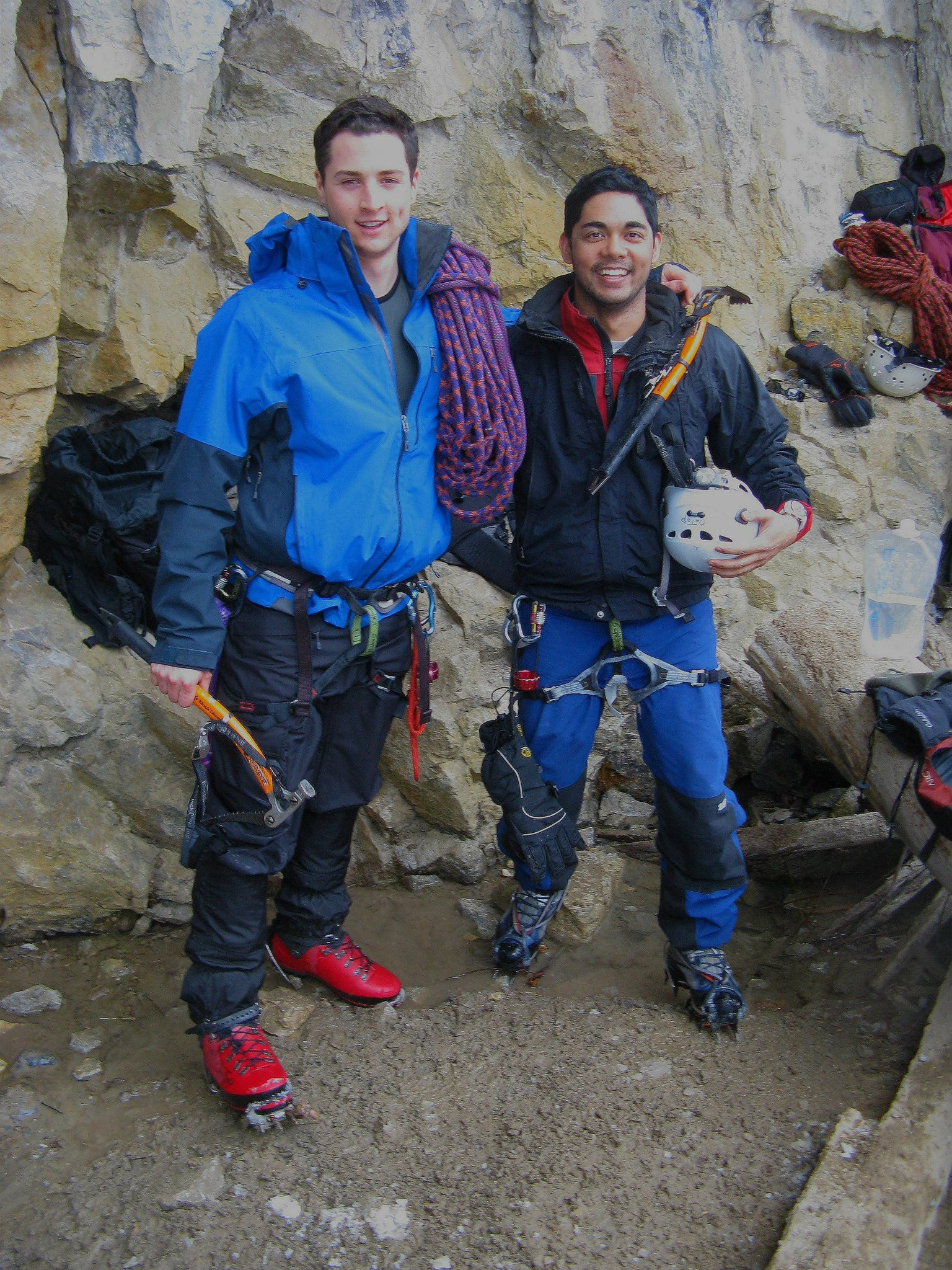 Isaiah (on the left) and a friend on an ice climb.