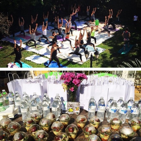 People doing yoga and Fala Bar catering