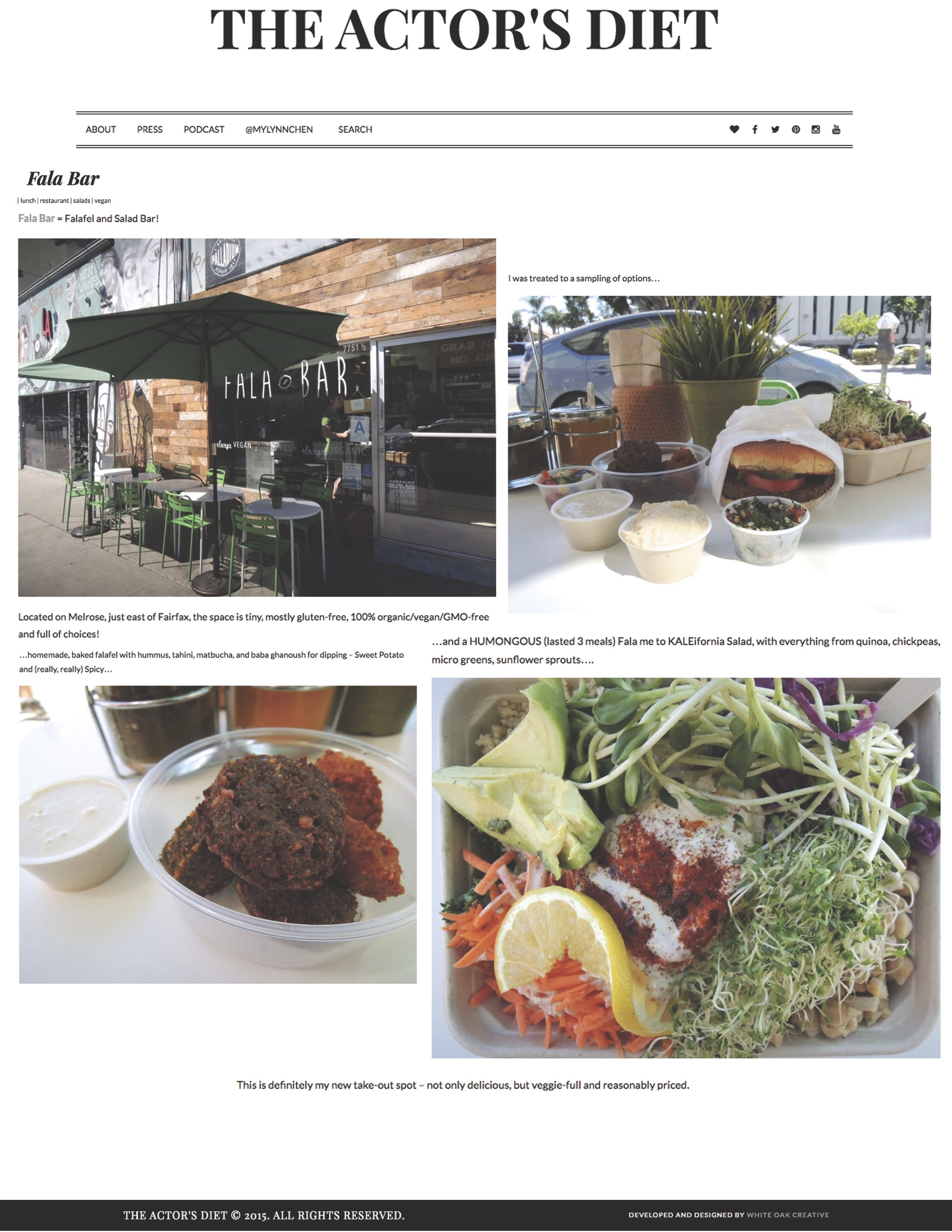 Report about Fala Bar / The Actor's Diet