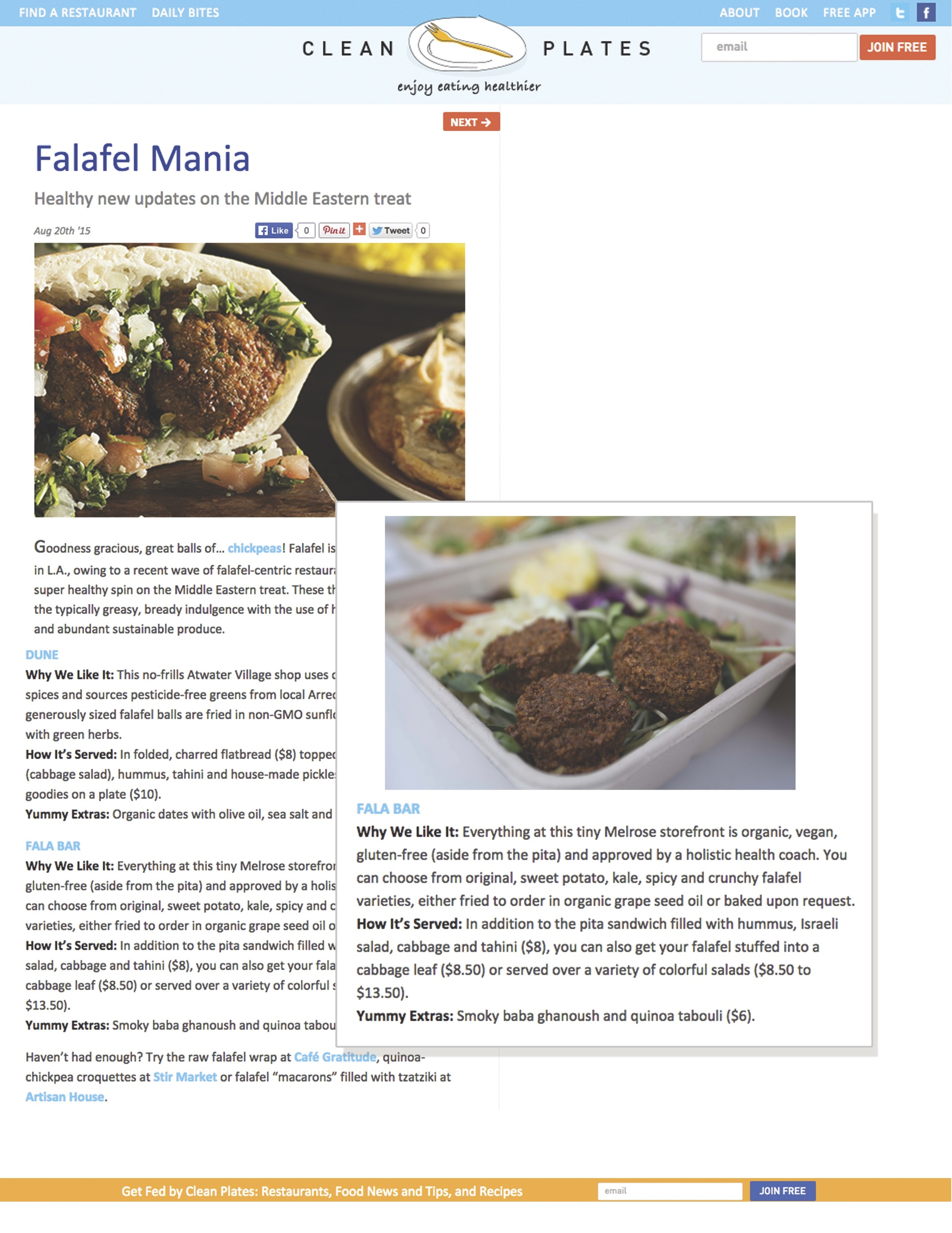 Report about Fala Bar / Clean Plates