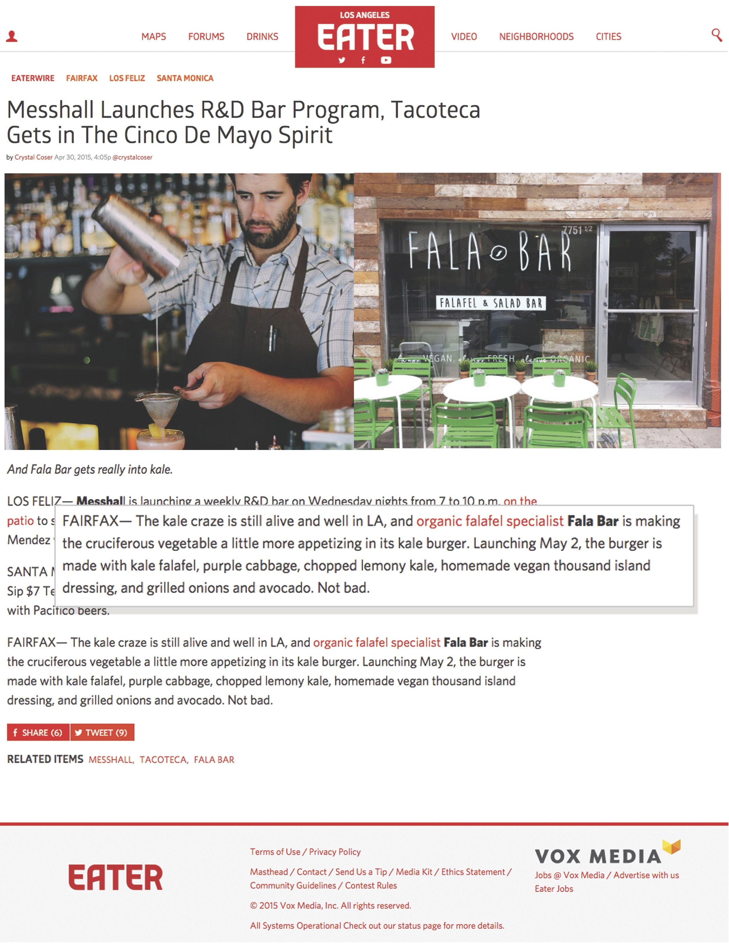 Report about Fala Bar / Los Angeles Eater