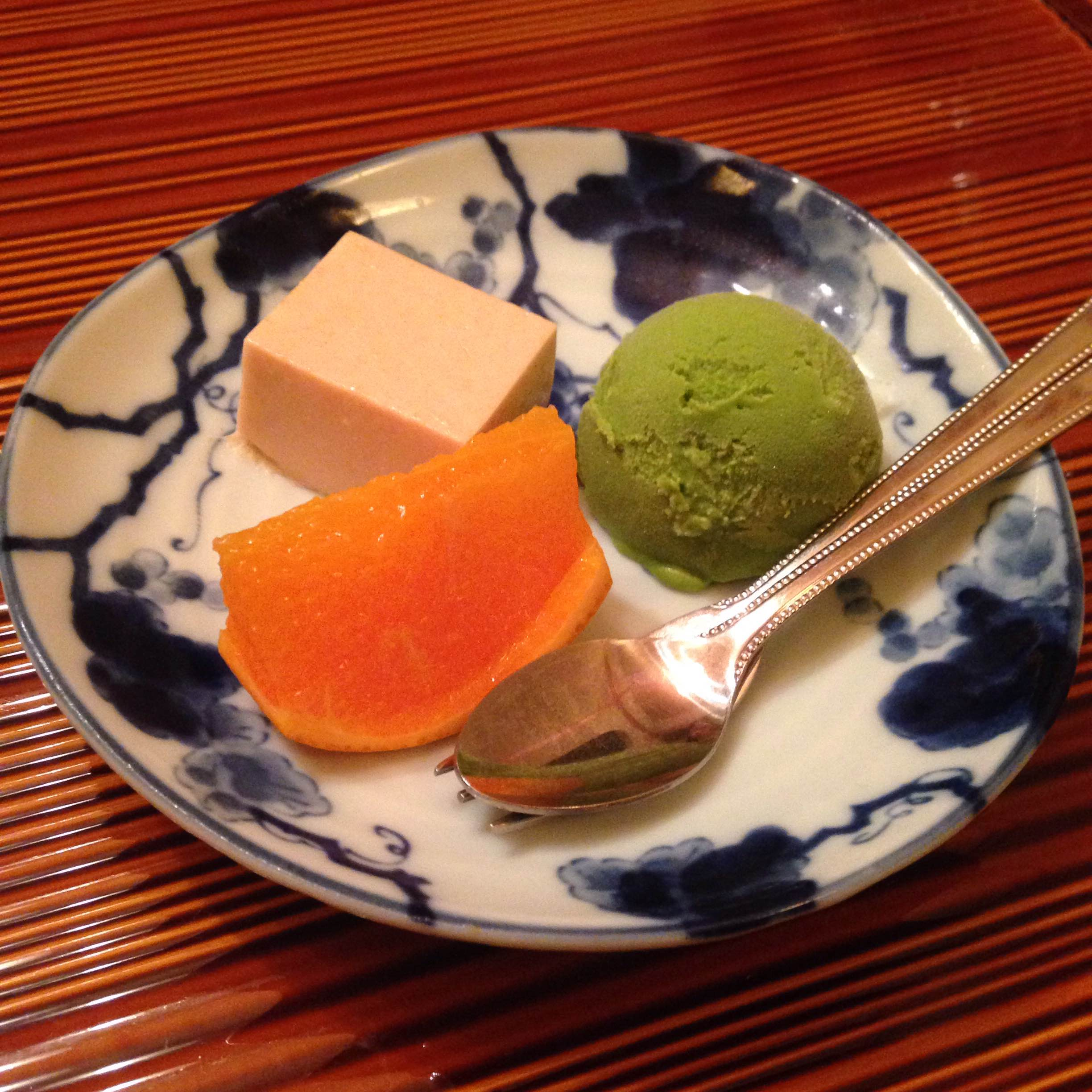 Desert! Green tea ice cream, fruit, chilled tofu