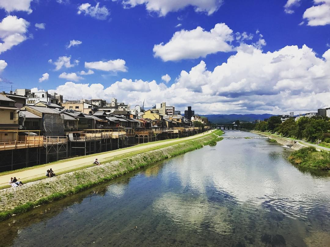 kyoto river summer clouds