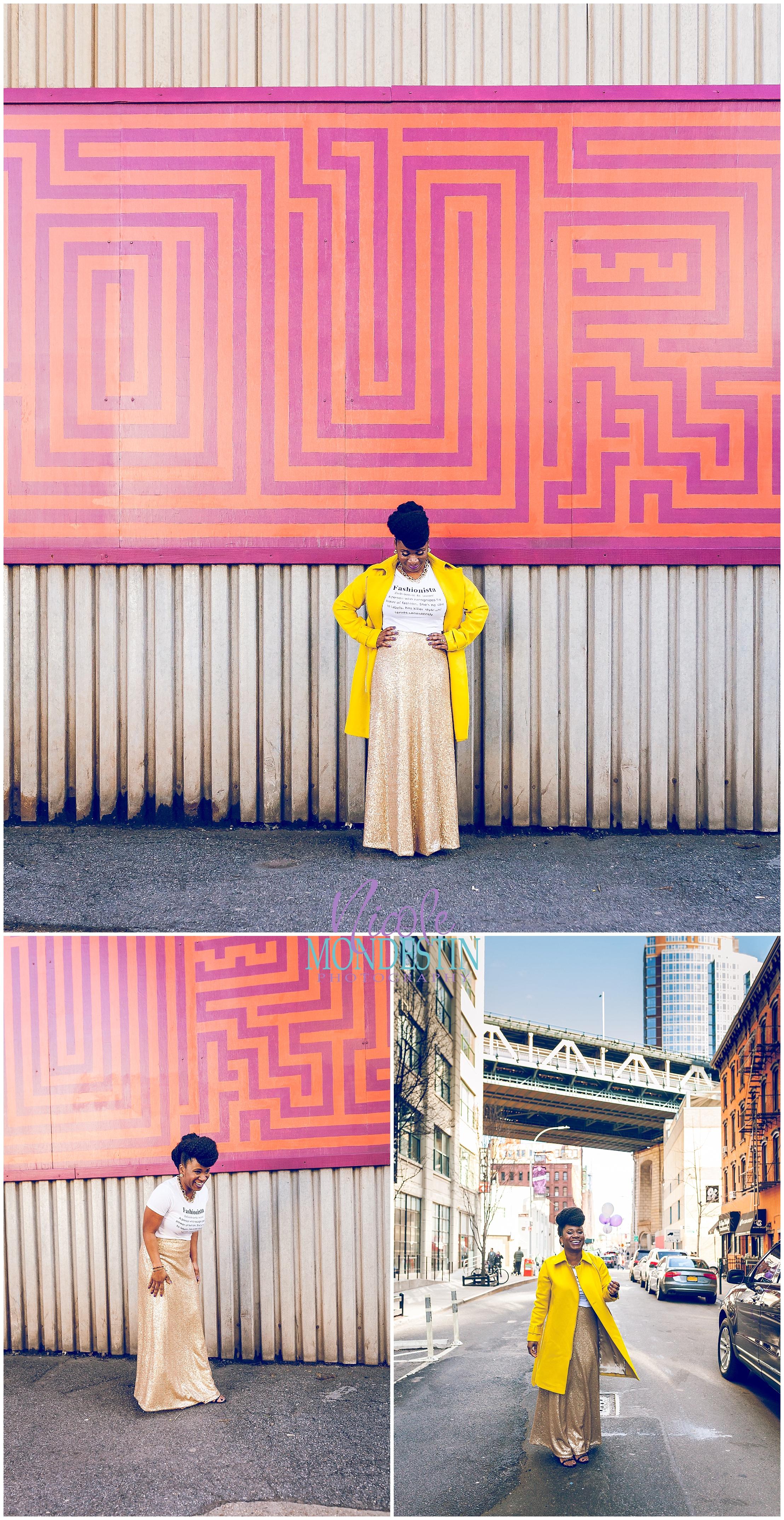 Black woman colorful wall, brooklyn , nicole mondestin photography