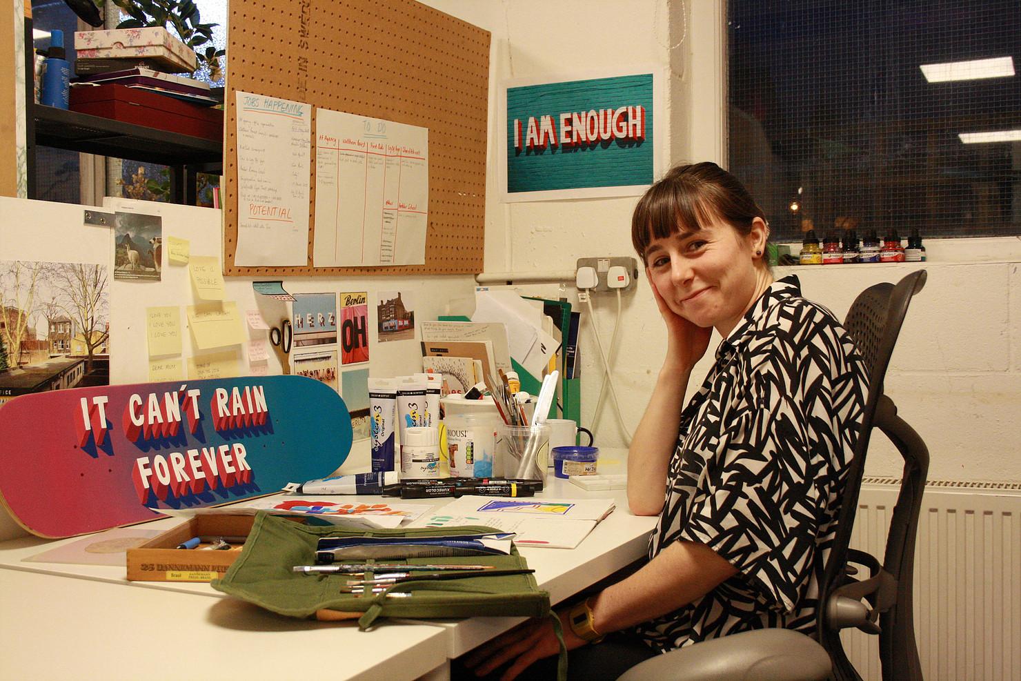 Naomi in her studio in Hackney