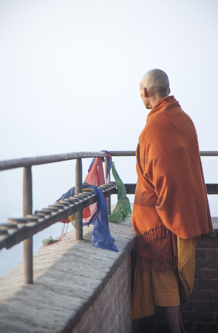 Monk at Swayambhunath Temple, also known as the Monkey Temple, Kathmandu