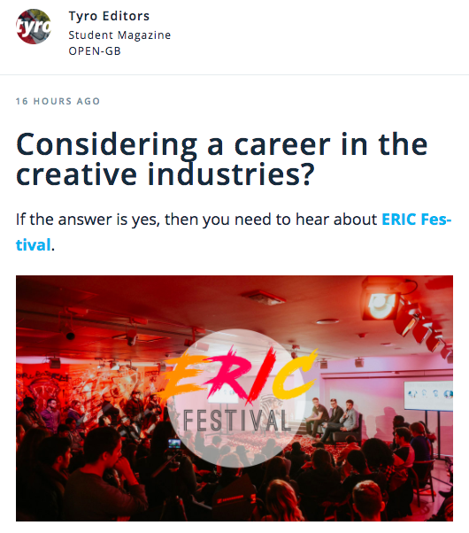 TYRO MAGAZINE - 'What other careers fair allows you to have your makeup done professionally, experience virtual reality, listen to upcoming artists and sample some of the newest products on the market, all while taking CV workshops and getting involved in masterclasses with some incredible people from the fashion industry? It's the dream - doing something productive for your future while having an absolute blast.'