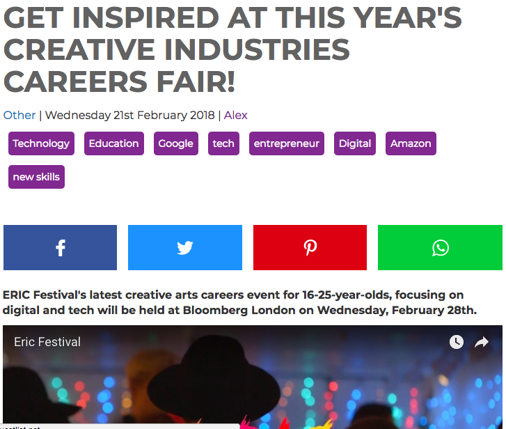 GUESTLIST - 'ERIC Festival's latest creative arts careers event for 16-25-year-olds, focusing on digital and tech will be held at Bloomberg London on Wednesday, February 28th.'