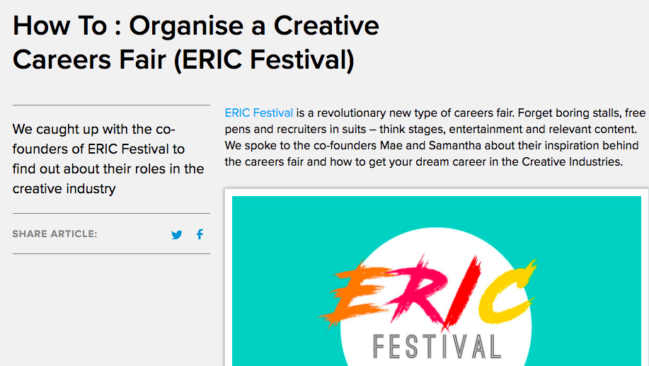 the big music project - We caught up with the co-founders of ERIC Festival to find out about their roles in the creative industry