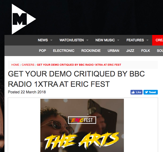 m-magazine - 'Taking place at Somerset House, Eric Fest – The Arts is a free creative careers fair for 16-25 year olds, featuring stages, entertainment, and speakers who will offer essential advice on how to find your dream creative career.'