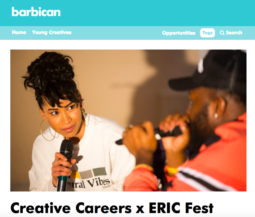 Barbican - 'Think of a careers fair and what springs to mind? Probably not deckchairs and Krispy Kreme donuts. Or face painting, crafts and a live performance by Cadet. But ERIC is no ordinary careers fair.'