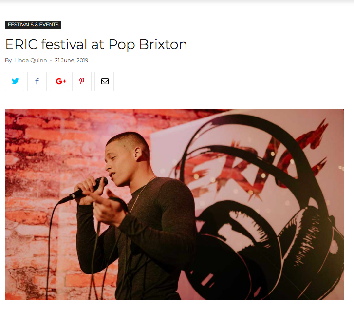 "bRIXTON BUGLE - 'Sam Hornsby and Mae Yip, directors of ERIC, say: ""This year we're partnering with Pop to host a first-of-its-kind and completely free community festival, a day-to-night event for 400-plus 16-25-year olds.'"
