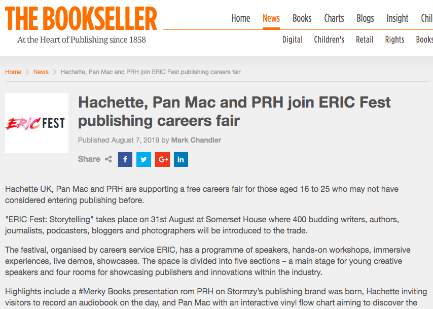 THe bookseller - 'Hachette UK, Pan Mac and PRH are supporting a free careers fair for those aged 16 to 25 who may not have considered entering publishing before.''