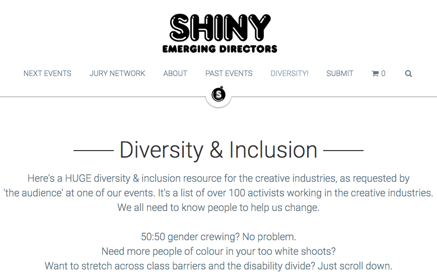 SHINY AWARDS - 'Here's a HUGE diversity & inclusion resource for the creative industries, as requested by 'the audience' at one of our events. It's a list of over 100 activists working in the creative industries.We all need to know people to help us change.'