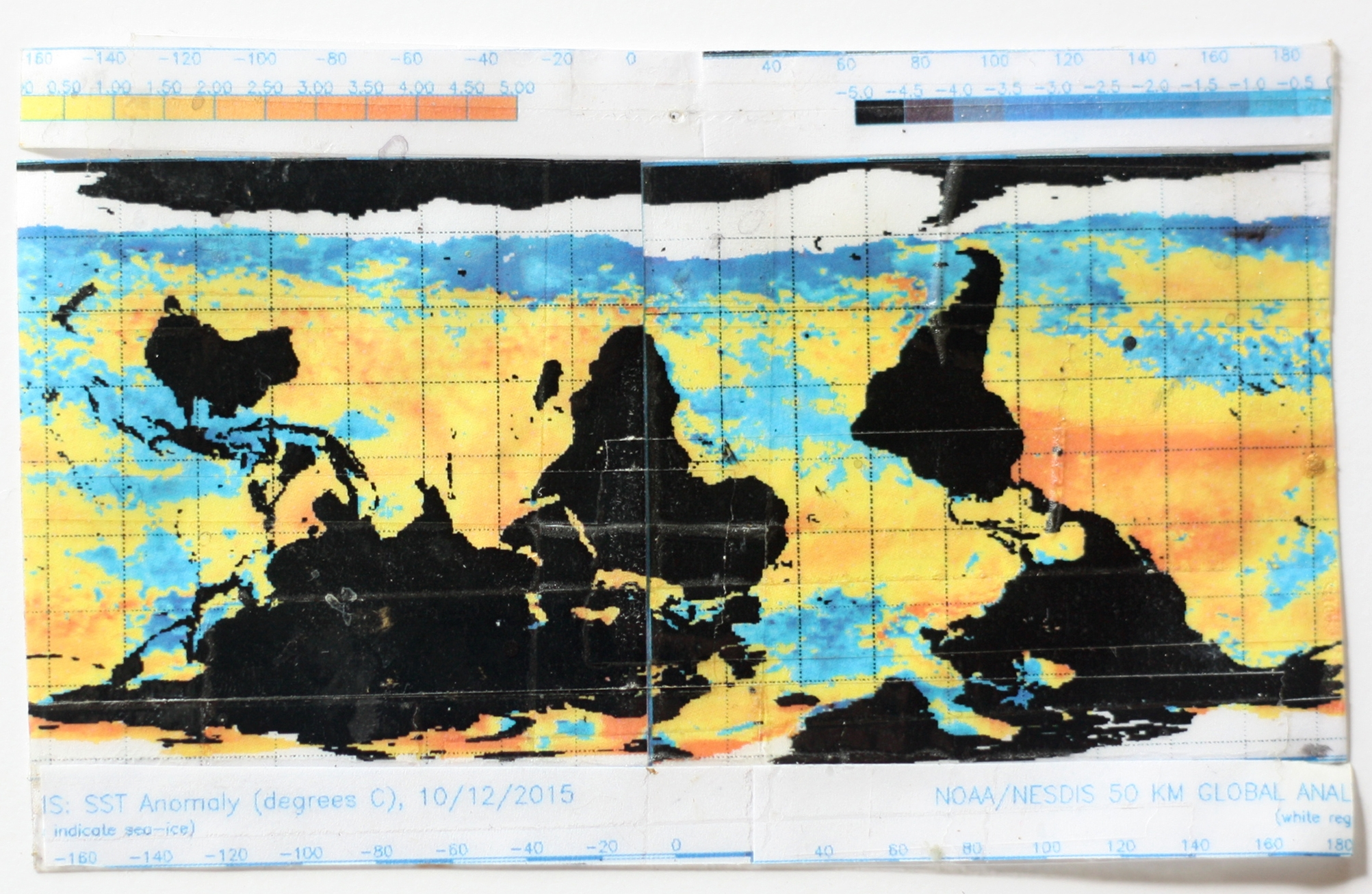 Ana Vizcarra Rankin,  Surface Sea Temperature Anomalies , 2017 collage 8x10in framed