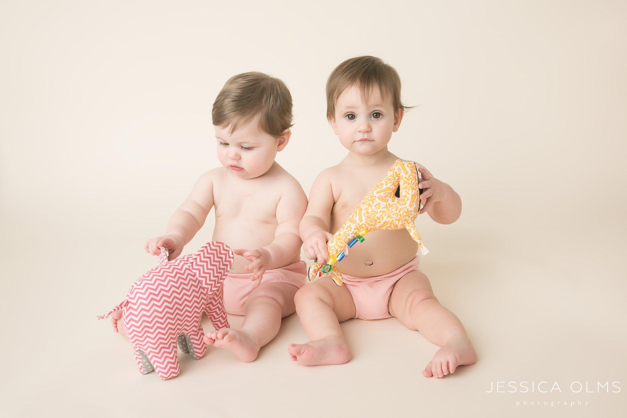 9 month girls with handmade toys columbus ohio baby photographer