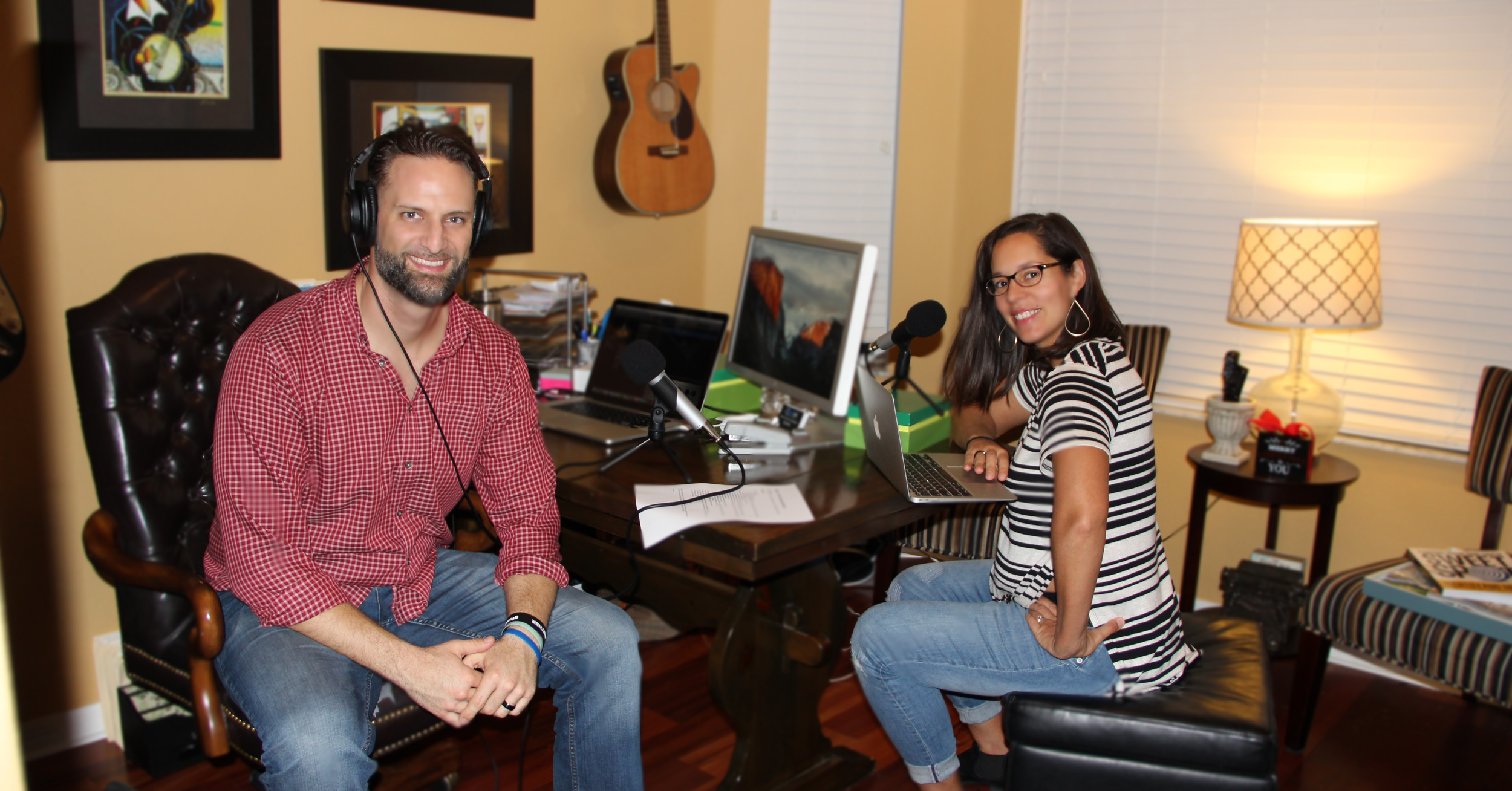 """Nazach (20-weeks pregnant) and Nick recording in our home """"studio"""""""