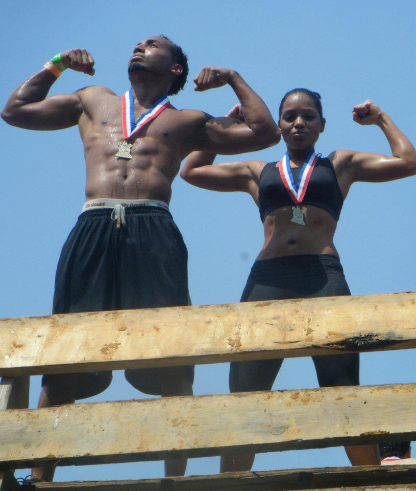 Chris & Christine (Team Chris) after crushing a mud obstacle course!
