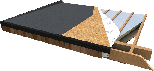 Timber Frame Construction Roof Detail, Insulated Flat Roof