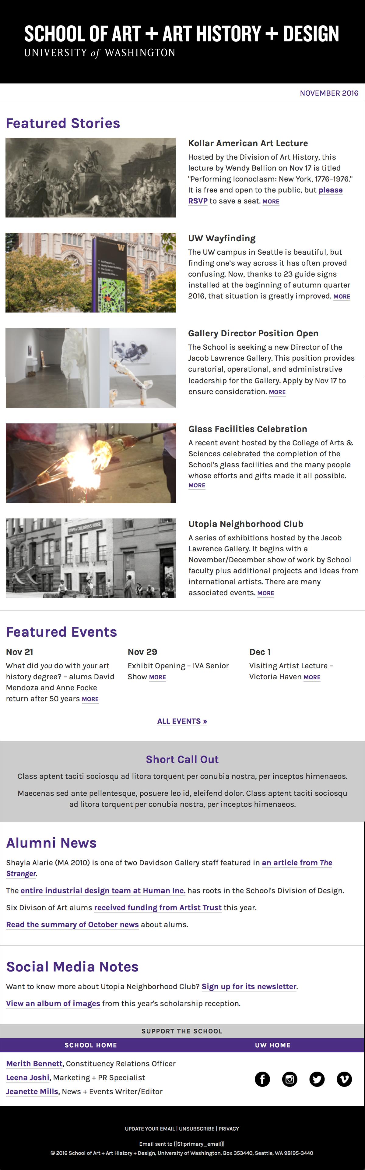 UW School of Art + Art History + Design Email Template