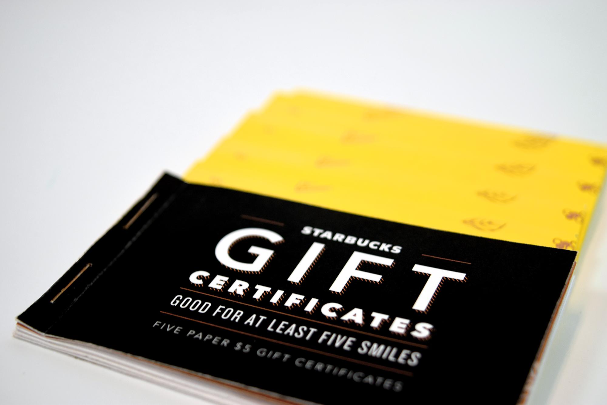 Starbucks Gift Certificate Booklet