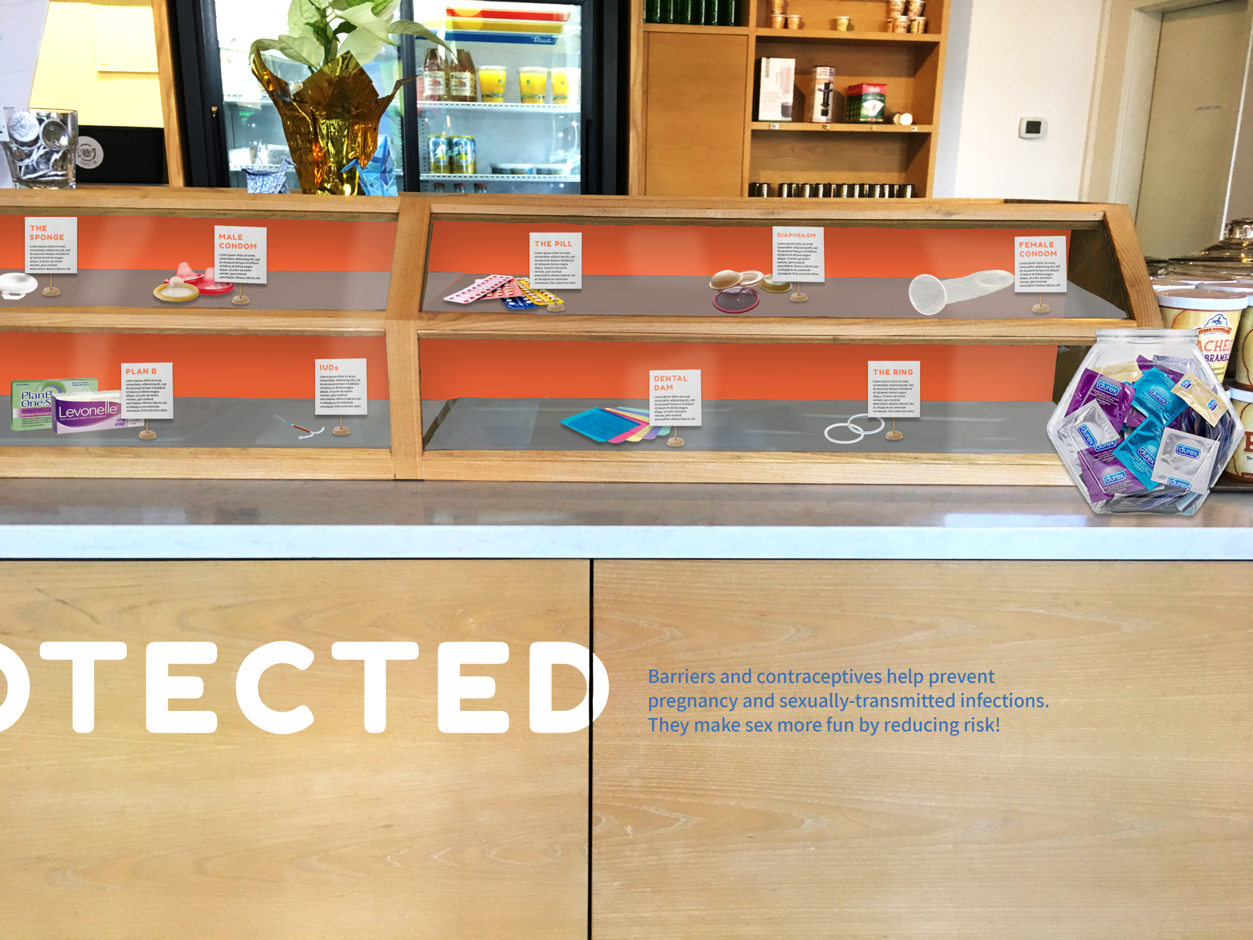 Sex should be... PROTECTED - Sex should be... Protected is located inside the bakery case that would be typically be filled with pastries. A selection of different contraceptives and barriers are on display along with information about them. This encourages people to get familiar with their options and learn more about how different methods work.