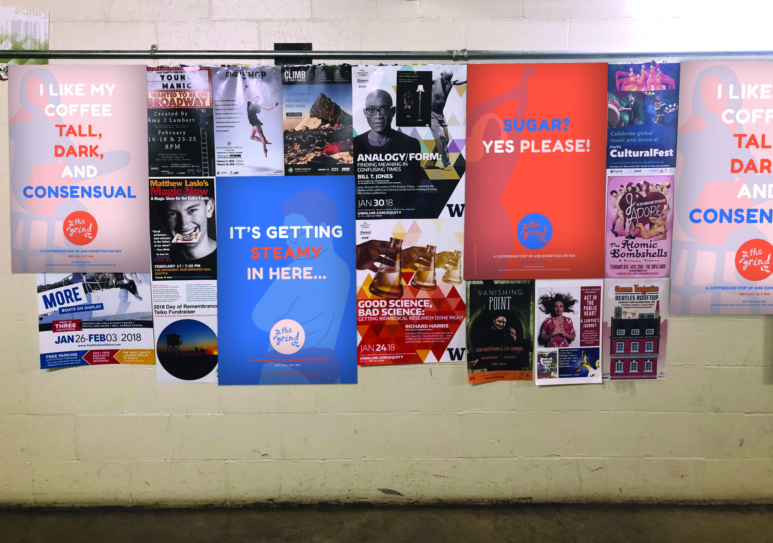 Advertising - Using our branding and illustration style, posters, ads, and pamphlets have been create intrigue surrounding the exhibit and drive traffic into the space.