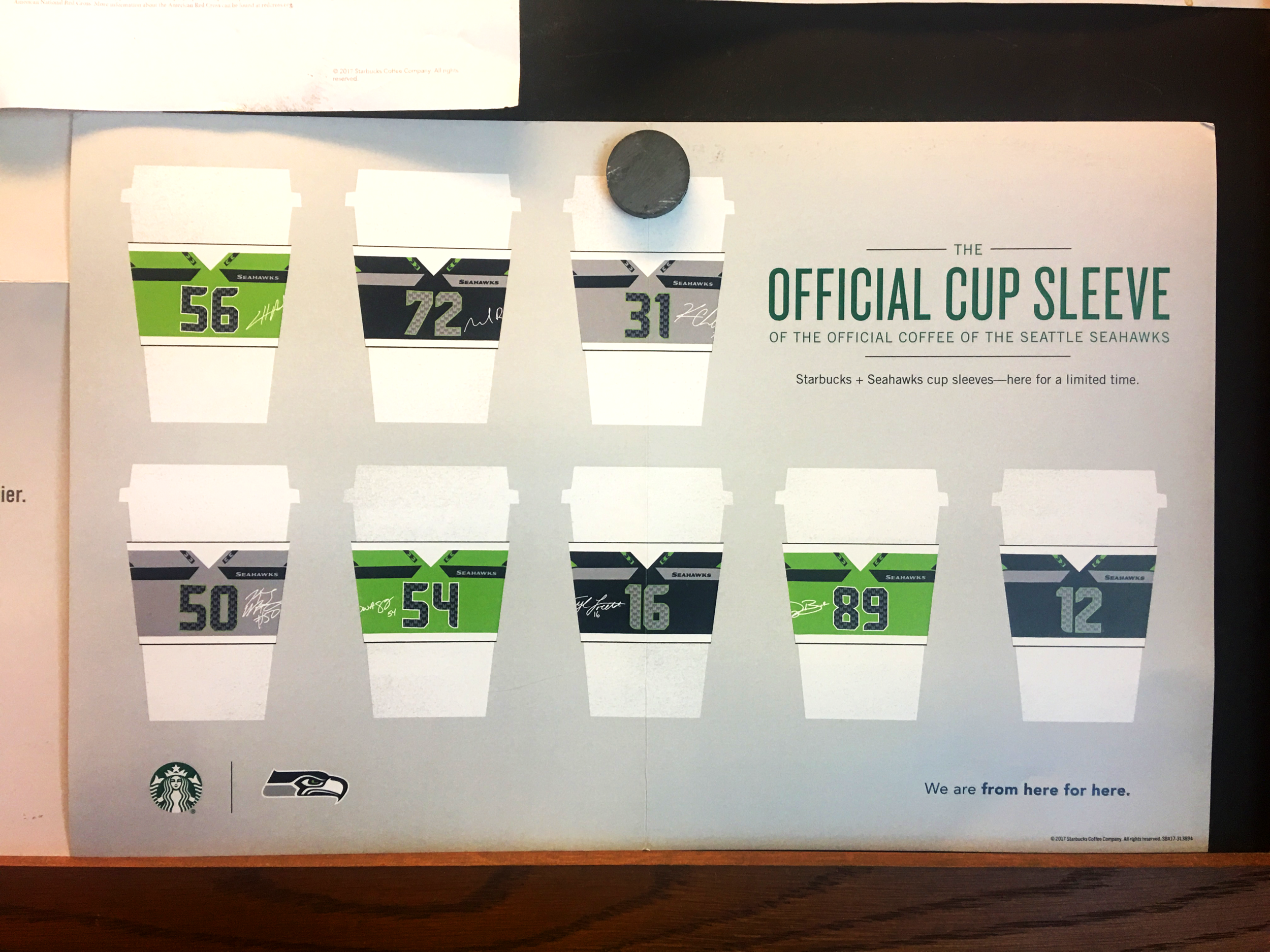 Starbucks + Seahawks Collaboration Cup Sleeve Poster