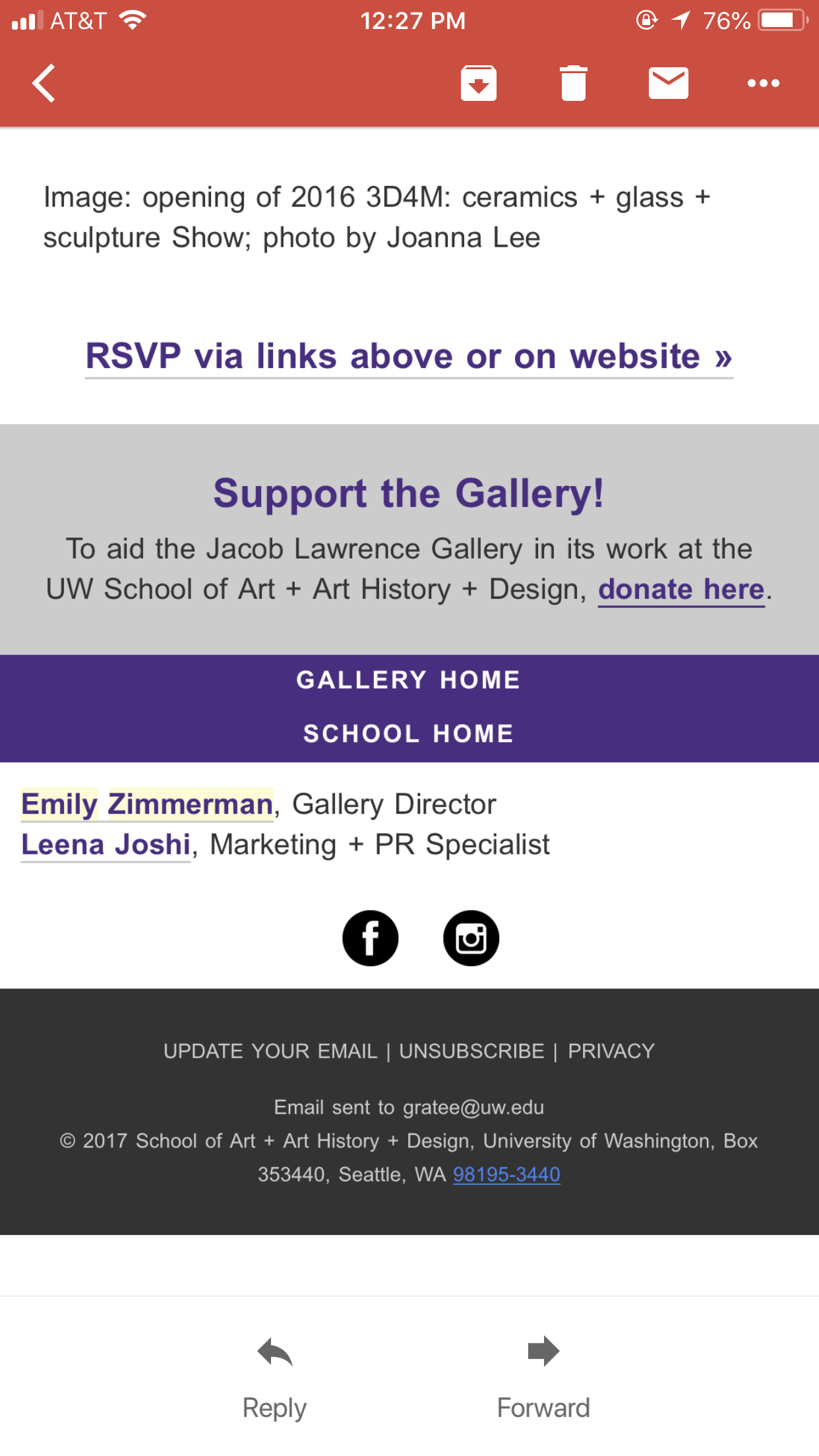 Mobile View of Jacob Lawrence Gallery Email Template