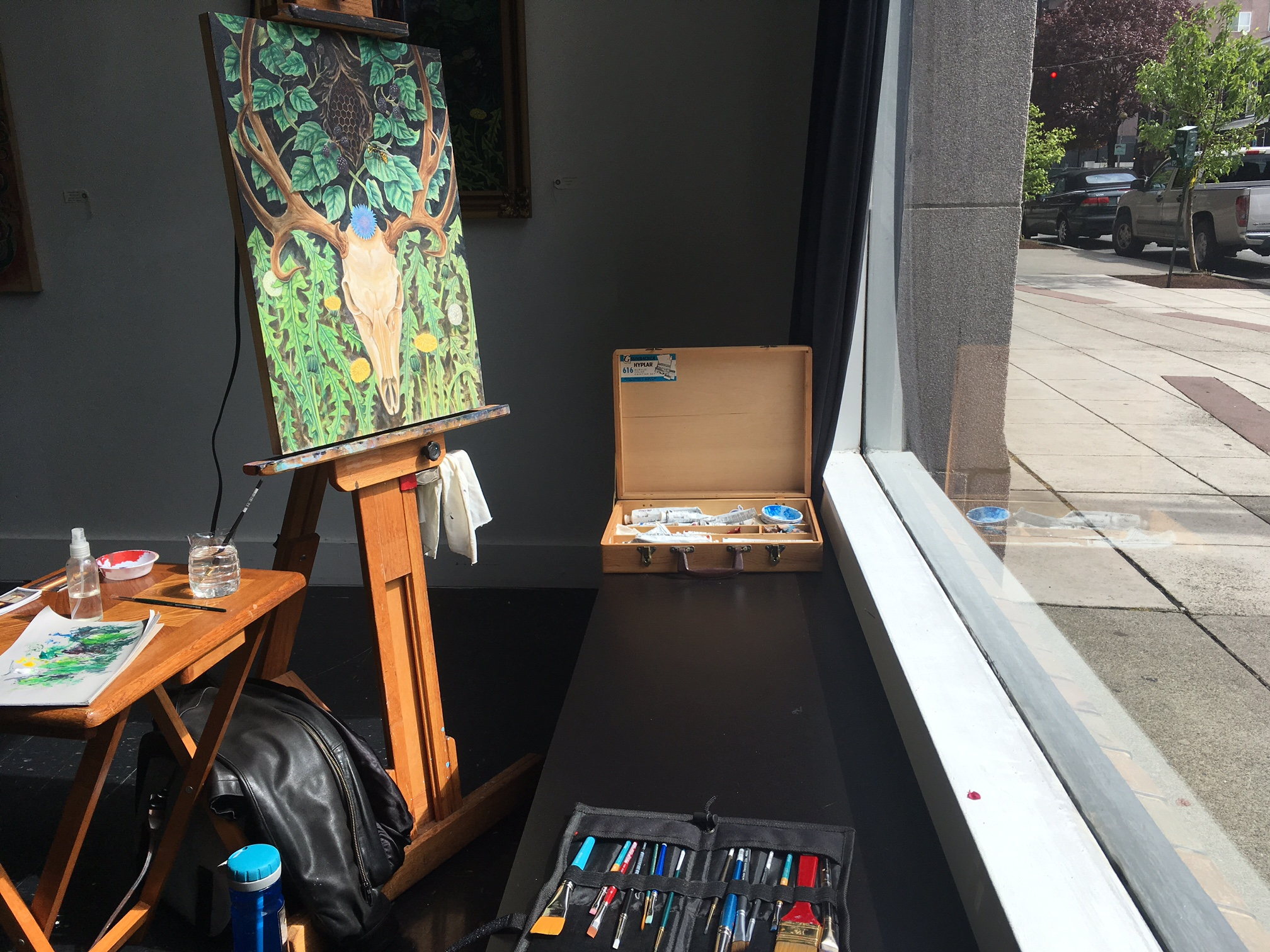 Painting and getting some sunshine at the same time.