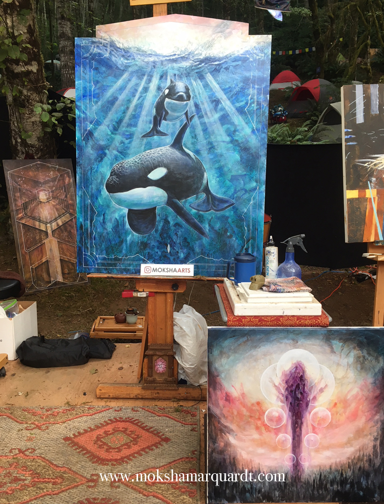 Three paintings started at Beloved 2018