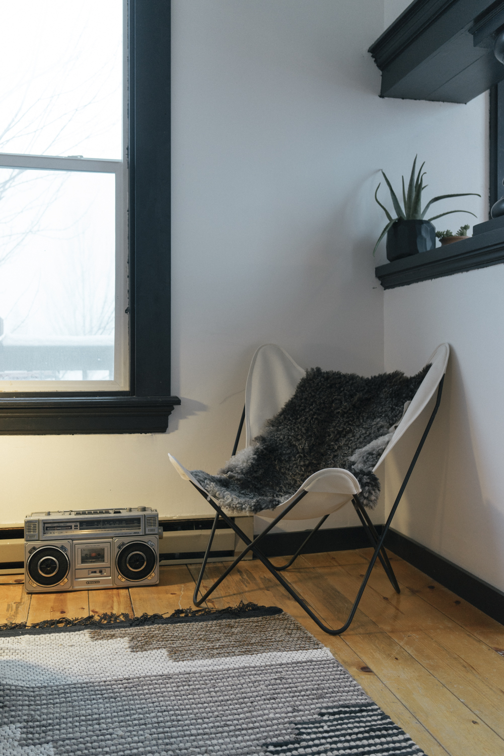 Snuggle up with some sheepskin and listen to jams from the tape collection in room two