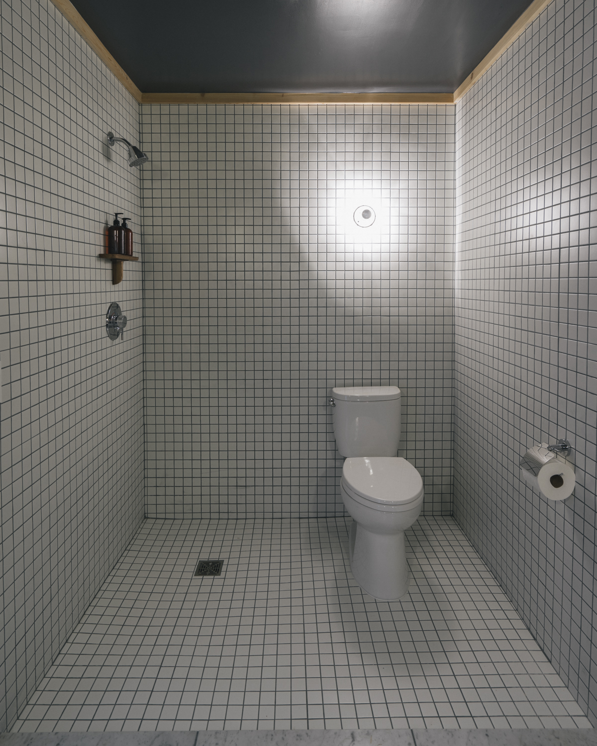 The European style, all tile bathroom in room four and three quarters