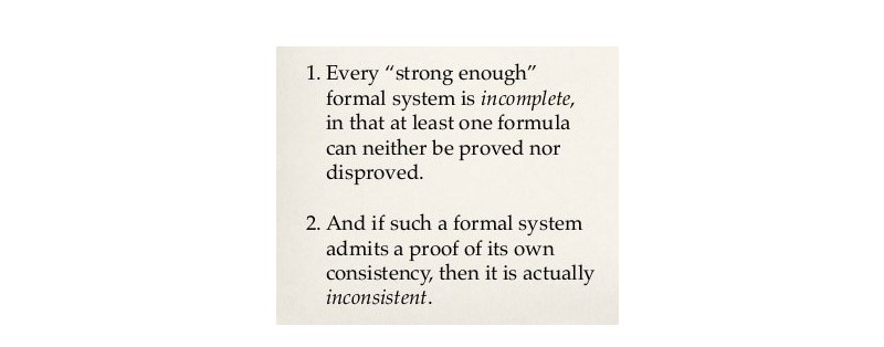 Godel's 1st Theorem of Incompleteness, which mathematically proves that the larger the mathematical system, the greater the certainty it will contain mathematically unverifiable statements.
