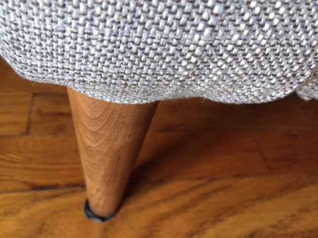 Here is the new tapered legs that were stained to match our other furniture. Looks prettier!