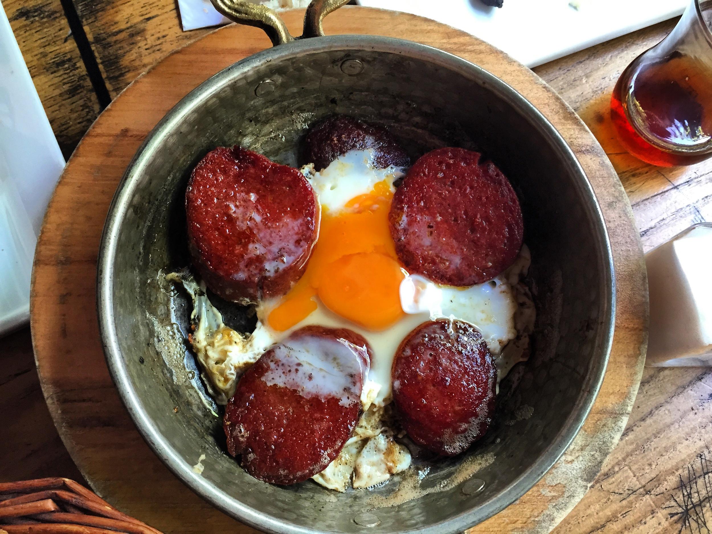Egg with Turkish sausage (socuk). That yolk is no joke.