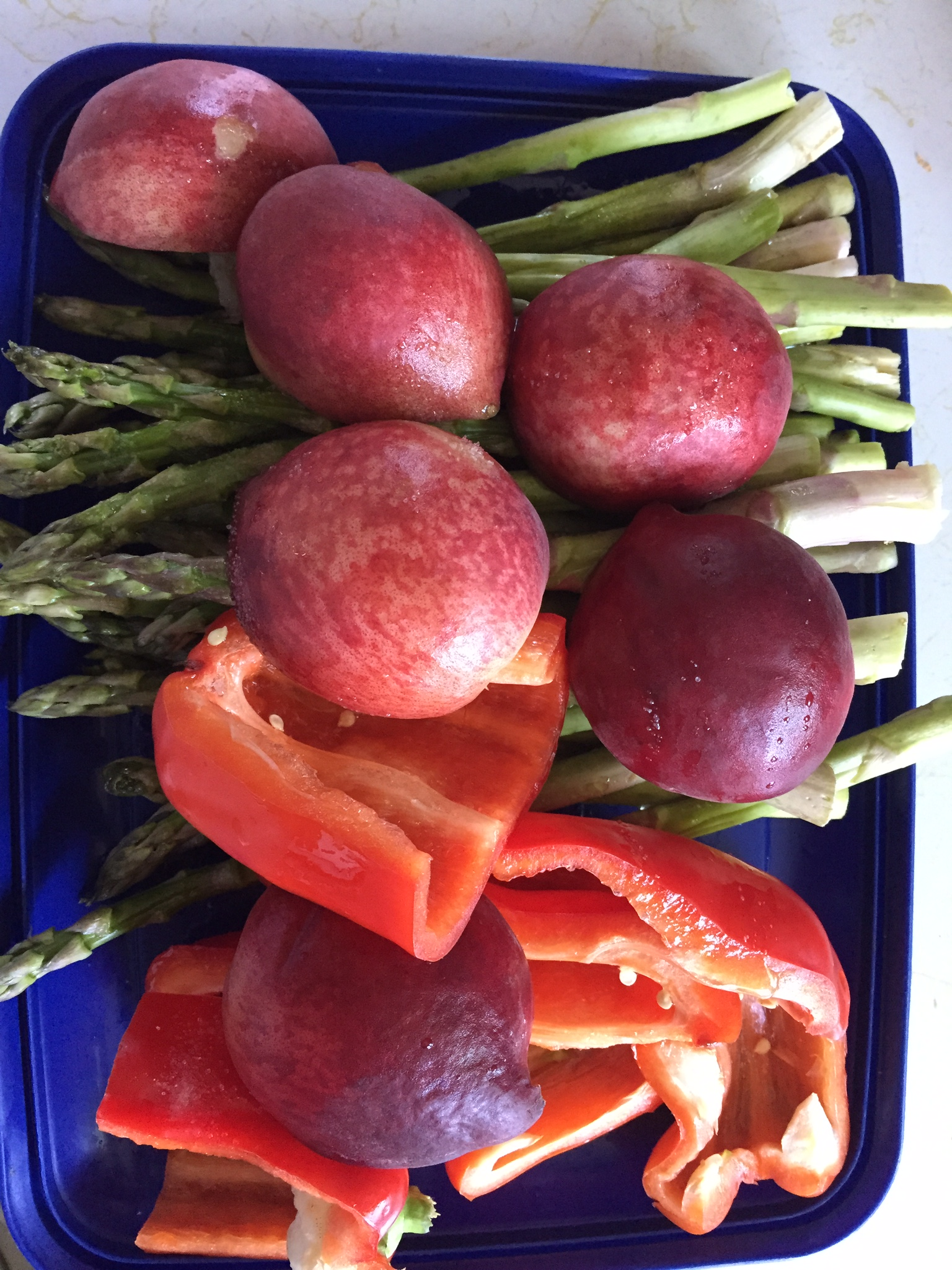 Vegetables and Peaches Ready for the Grill