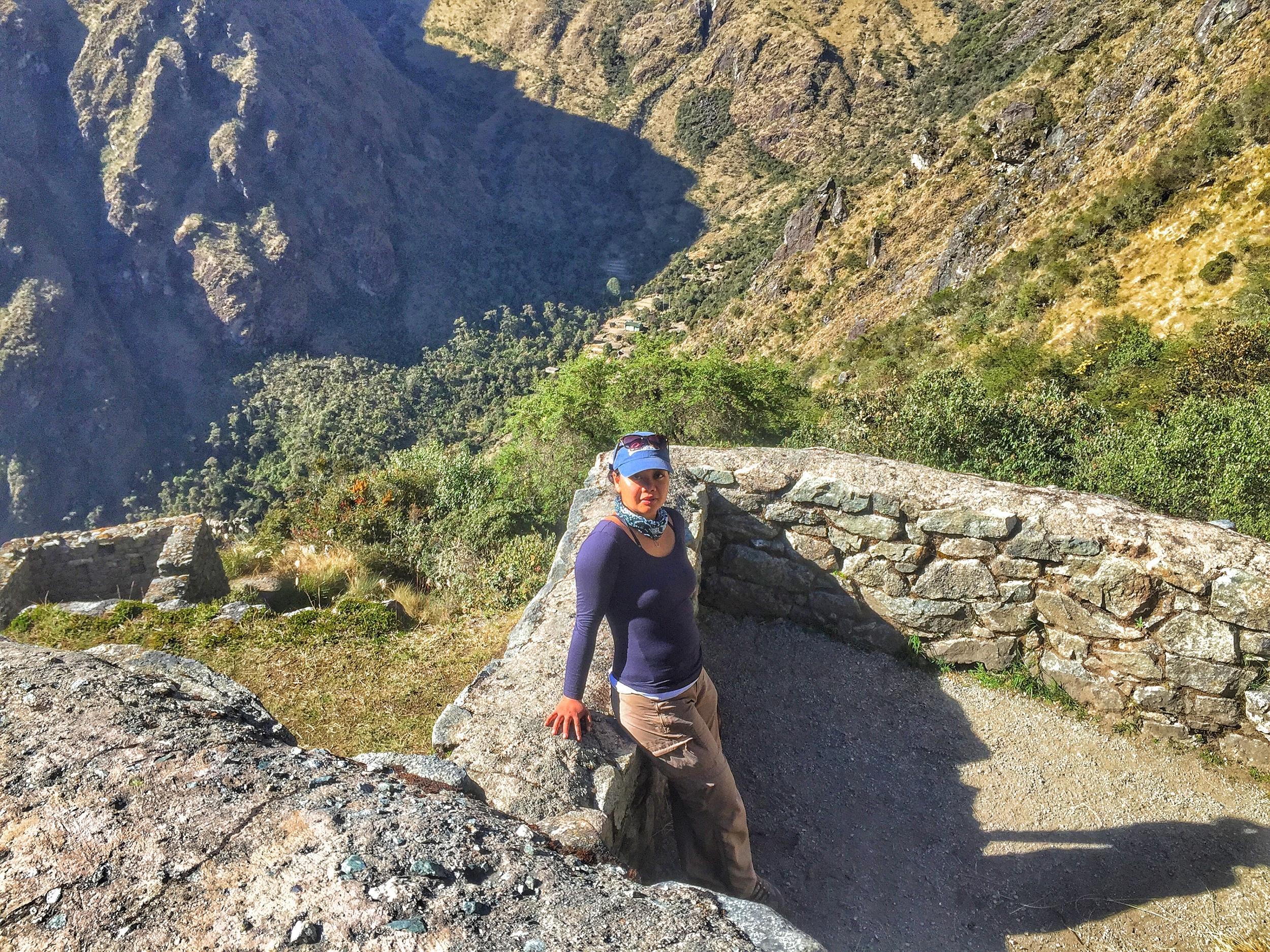 Posing at an Inca Ruin.