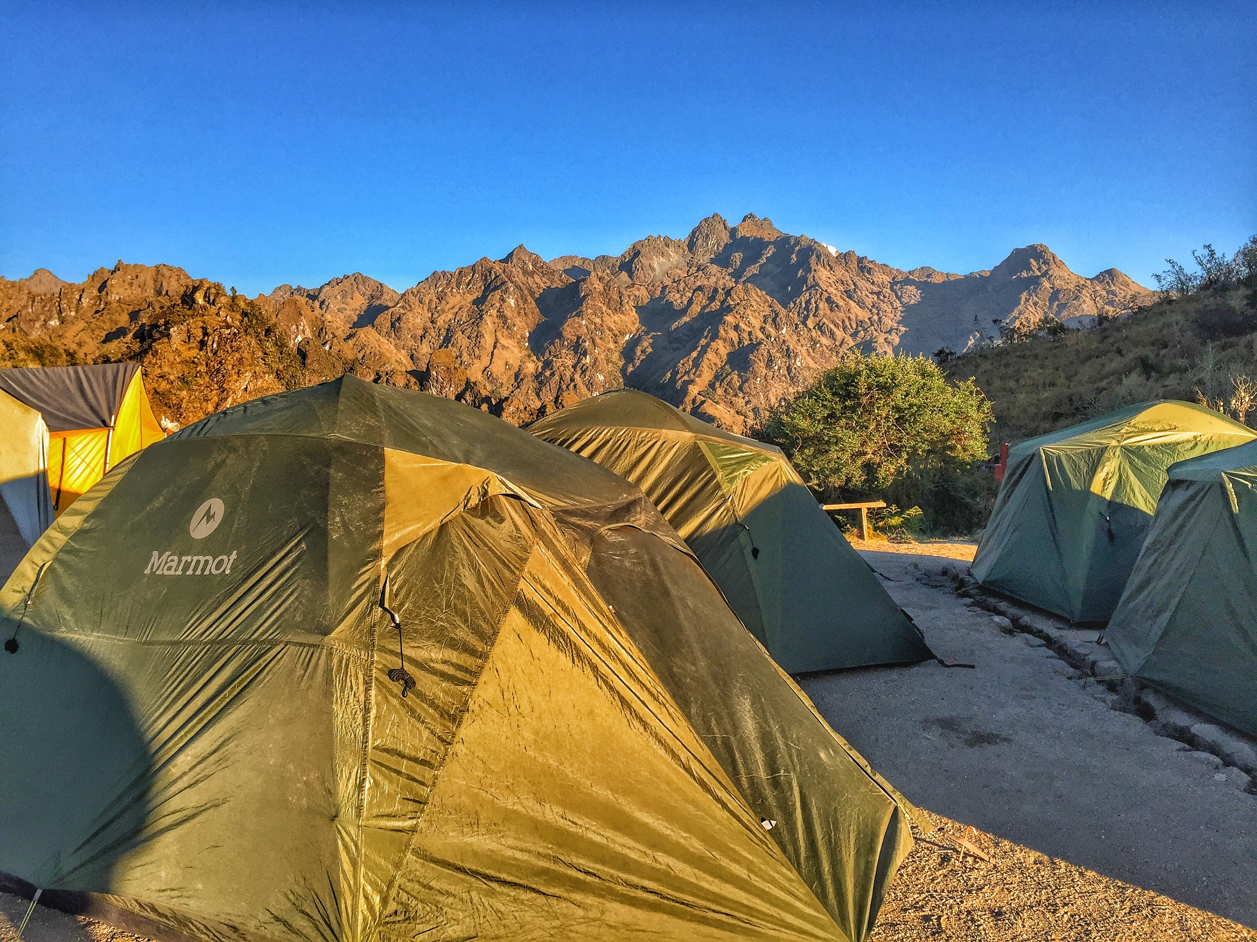 Our camping tents in the mountains.